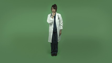 indian female doctor isolated on greenscreen with a secret