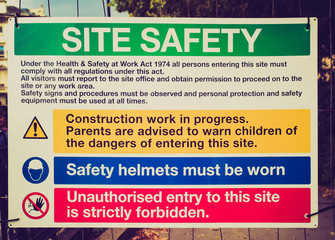 Retro look Site safety sign