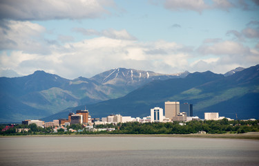Office Buildings City Skyline Downtown Anchorage Alaska USA
