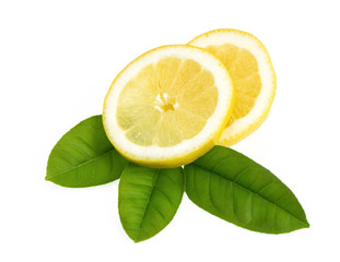Fresh sliced lemon and leaf isolated on white.