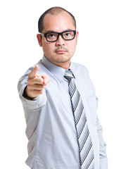 Serious businessman finger pointing to you