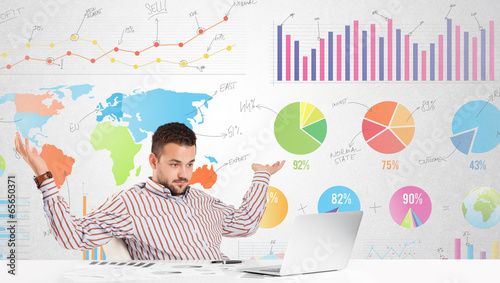 Business man with colorful charts