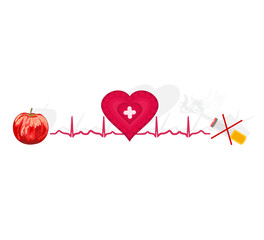 Education Ekg heart apple ok cigarette no vector illustration