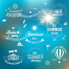 Summer holidays design elements and typography design. Retro and