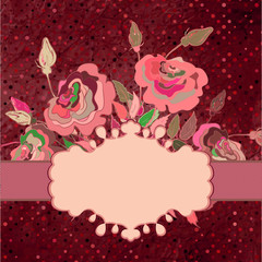 Postcard with roses and polka dot. EPS 8