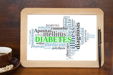 blackboard with diabetes word cloud