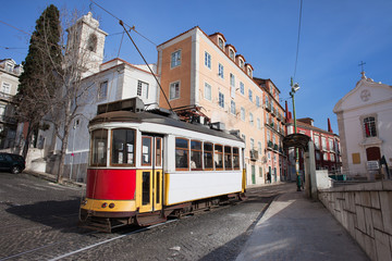 Historic Tram in Alfama District of Lisbon