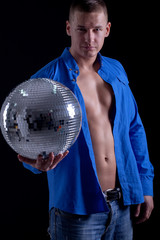 young caucasian sexy muscled attractive handsome man with disco