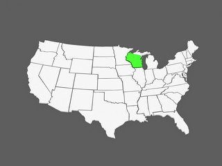 Three-dimensional map of Wisconsin. USA.