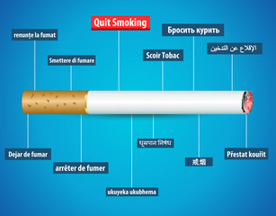 quit smoking in different languages, no tobacco day poster