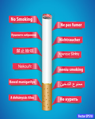 no smoking poster in different languages- vector eps10