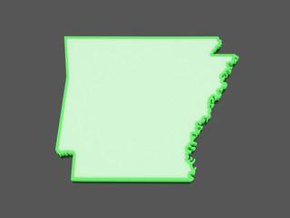 Three-dimensional map of Arkansas. USA.