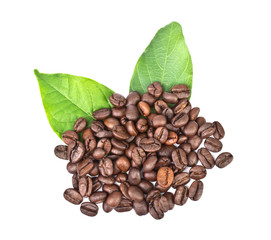 coffee grains and leaves on white