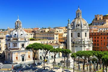 Trajan's Column and Santa Maria di Loreto Church, Rome, Italy