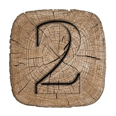Wooden vintage numeric collection, number 2