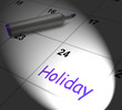 Holiday Calendar Displays Rest Day And Break From Work