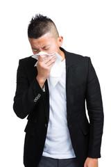 Asian man sneeze