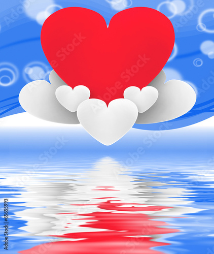 Heart On Heart Clouds Displays Romantic Imagination And Dreams