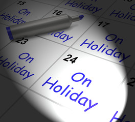 On Holiday Calendar Displays Annual Leave Or Time Off