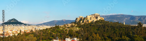 Poster Athene Panorama with Acropolis in Athens, Greece