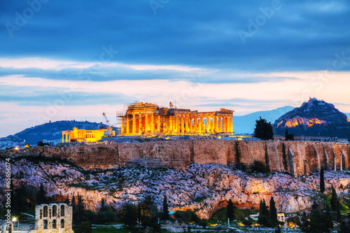 Fotobehang Rudnes Acropolis in the evening after sunset