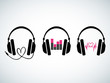 Creative music headphones logo set - 65656991