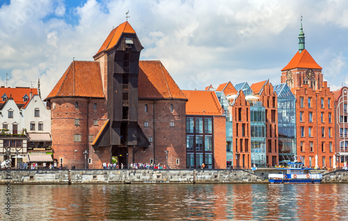 The medieval port crane over Motlawa river in Gdansk, Poland