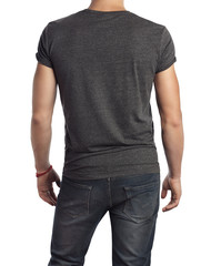 man wearing blank t-shirt. Isolated on white.