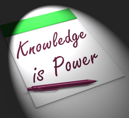 Knowledge Is Power Notebook Displays Successful Intellect And Me