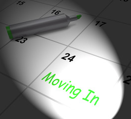 Moving In Calendar Displays New House Or Place Of Residence