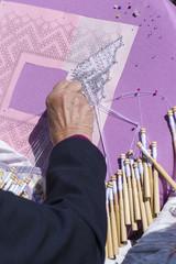 Woman Making Bobbin Lace.
