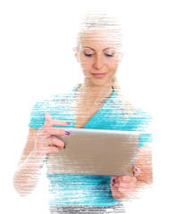 Female programmer with tablet pc on white background.