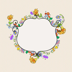 Floral doodles frame