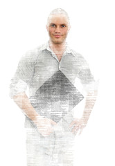 Male programmer with tablet pc on white background.
