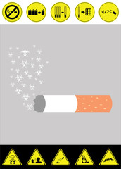 Harm concept of smoking cigarette vector