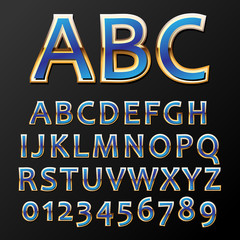 Vector illustration of a blue metal alphabet