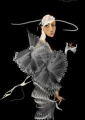 beautiful woman in a fancy dress on black