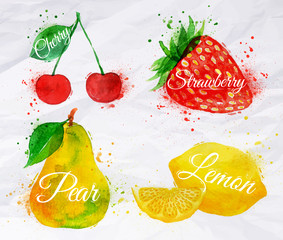 Fruit watercolor cherry, lemon, strawberry, pear