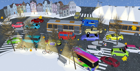 busy street filled with colorful cars and buses in winter