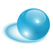 3D sphere, transparent glass ball blue.