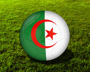 3d Algeria Soccer Ball with Green Background - isolated