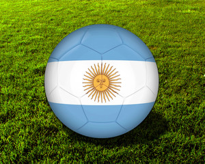 3d Argentina Soccer Ball with Grass Background - isolated