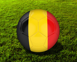 3d Belgium Soccer Ball with Grass Background - isolated