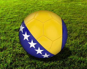 3d Bosnia Soccer Ball with Grass Background - isolated