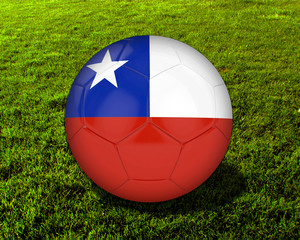 3d Chile Soccer Ball with Grass Background - isolated