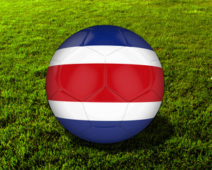 3d Costa Rica Soccer Ball with Grass Background - isolated