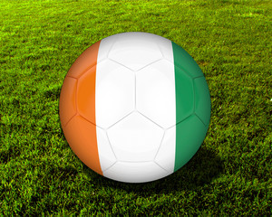 3d Cote d'ivoire Soccer Ball with Grass Background - isolated