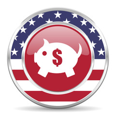 piggy bank american icon, usa flag