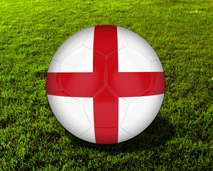 3d England Soccer Ball with Grass Background - isolated