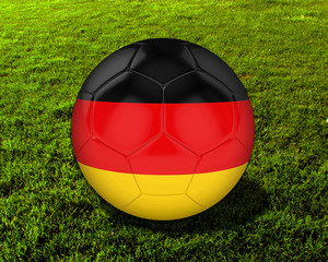 3d Germany Soccer Ball with Grass Background - isolated